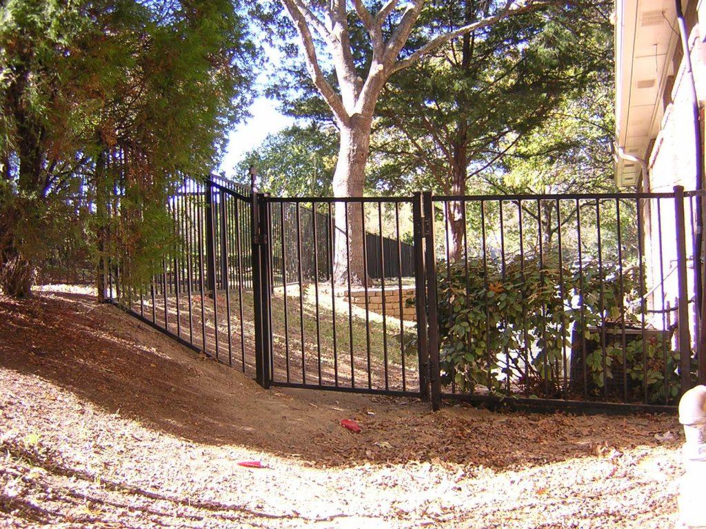 Metal Fence On a Contour